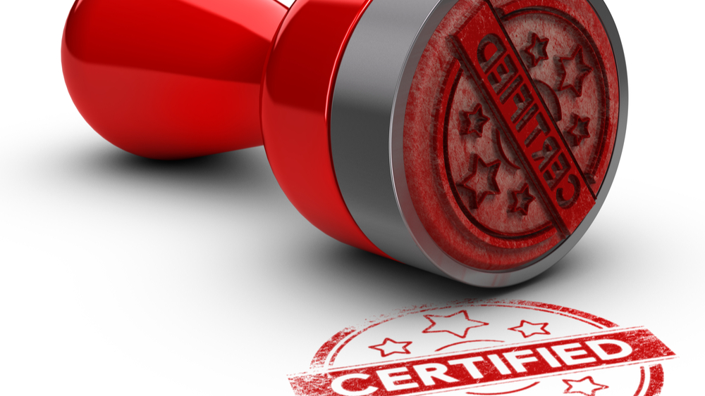 Red certification stamp