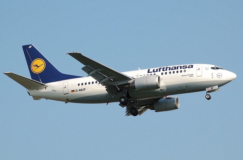 Lufthansa plane flying